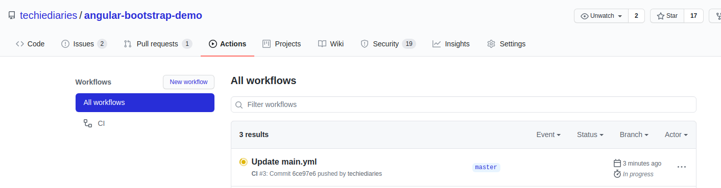 GitHub Workflow Progress